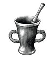 mortar and pestle vintage engraving isolated vector image vector image
