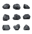 Polygonal stones rock graphite coal elements for vector image vector image