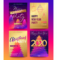 posters set for 2020 new year and christmas vector image