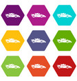 racing car icons set 9 vector image vector image