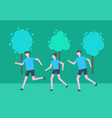 running man and woman people in leafy park jogging vector image vector image