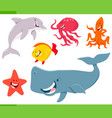 sea life animals cartoon characters set vector image