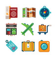set of colorful travel icons in flat style vector image vector image