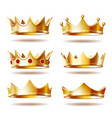 set of golden crowns for king vector image vector image