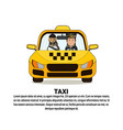 taxi service banner with driver and male passenger vector image vector image