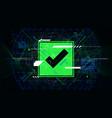 tech futuristic green check mark symbols ok vector image