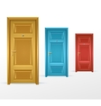 three doors blue red and yellow vector image vector image
