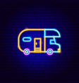 trailer neon sign vector image vector image