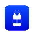 two bottles of wine icon digital blue vector image vector image