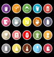 Variety drink icons with long shadow vector image