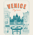 venice street cafe with view canal and gondola vector image vector image