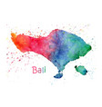 watercolor map bali stylized image with spots vector image vector image