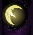 wise old moon cartoon character vector image vector image