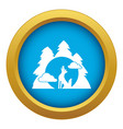 wolf forest howl icon blue isolated vector image