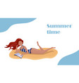 woman tanning and reading book vector image vector image