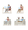 woman working at home on laptop set vector image