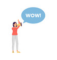 wow message bubble and woman cartoon character vector image vector image