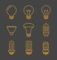 yellow light bulbs outline icons vector image