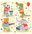 animals band party music sing concert set vector image