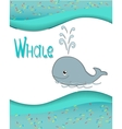 Animal alphabet whale with a colored background vector image vector image