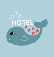 banner for 5 star hotel with cute hand-drawn whale vector image vector image