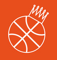Basketball Ball Icon with Crown vector image