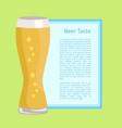 beer taste poster on green vector image vector image