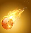 burning basketball background vector image