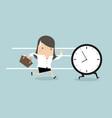 businesswoman run follow the clock vector image vector image