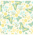 butterflies and flowers in pastel colors seamless vector image