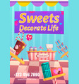candy shop flyer sweets decorate life concept vector image