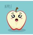 cartoon apple slice fruit facial expression design vector image vector image
