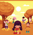 cartoon kids enjoy autumn activities outdoors vector image