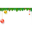 christmas blank banner with garland of fir vector image vector image
