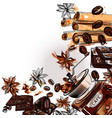 coffee background with with coffee grinder vector image vector image