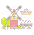 color yellow and red windmill and green vector image vector image