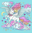cute rainbow unicorn among the clouds stars vector image vector image