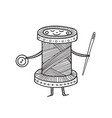 cute spool thread character vector image