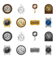 design of clock and time sign set of clock vector image vector image