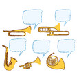different musical instruments with bubble speech vector image