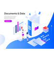 documents and data isometric concept modern flat vector image vector image