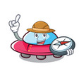 explorer ufo mascot cartoon style vector image