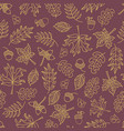 fall leaves seamless background purple vector image vector image