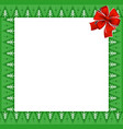 frame with christmas trees pattern on green vector image vector image