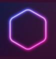 gradient neon hexagon blue-pink glowing border vector image vector image