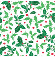 green red holly berry holiday seamless vector image vector image