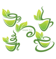 green tea collection of forms symbols and vector image vector image