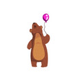 grizzly bear standing with purple glossy balloon vector image vector image