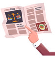hand points to newspaper about food weekly vector image