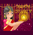 happy diwali cute indian girl woman in native vector image